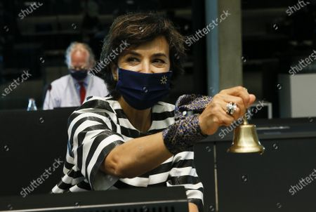Stock Picture of Portuguese Minister of Agriculture Maria do Ceu Albuquerque rings the bell at the start of the EU Agriculture and Fisheries council meeting in Luxembourg, 28 June 2021. EU Ministers will discuss the reform of the Common Agricultural Policy (CAP) but also biological control agents and the need to set a specific goal to protect bees.