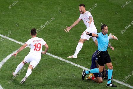 Mario Gavranovic of Switzerland celebrates scoring his sides third goal to make the score 3-3