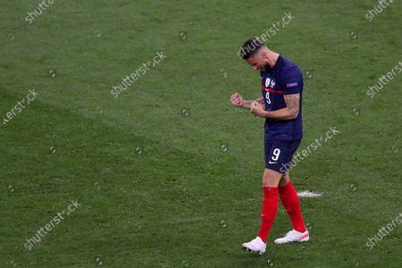 Stock Image of Olivier Giroud of France celebrates scoring his penalty