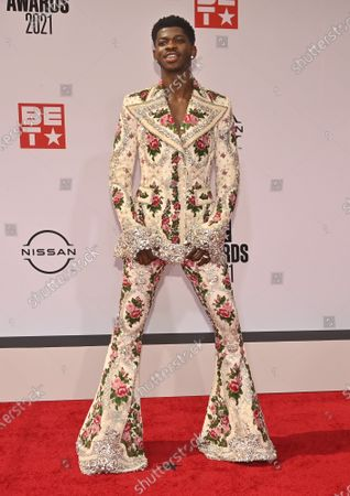 Recording Artist Lil Nas X arrives for the BET Awards at the Microsoft Theater in Los Angeles on Sunday, June 27, 2021. After a socially distanced ceremony in 2020 due to the coronavirus pandemic, the BET Awards returned to a live ceremony.