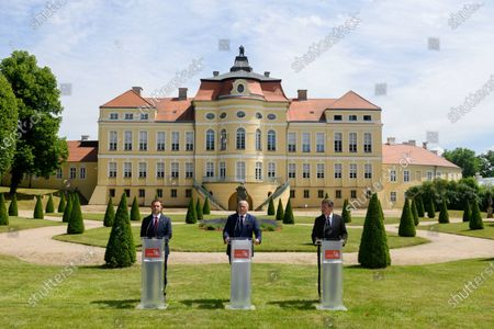(L-R) Foreign Minister of North Macedonia Bujar Osmani, Polish Minister Zbigniew Rau and EU Special Representative for the Belgrade-Pristina Dialogue and other Western Balkan regional issues Miroslav Lajcak attend a press conference after the Visegrad Group and Western Balkans foreign ministers meeting in Rogalin, western Poland, 28 June 2021. Foreign Ministers discussed the EU enlargement policy, cooperation in the context of the COVID-19 pandemic and post-pandemic recovery, as well as strengthening regional partnership.