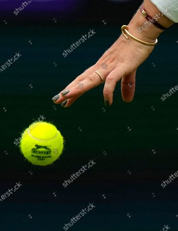 Belarus's Aryna Sabalenka prepares to serve to Romania's Monica Niculescu during their first round women's singles match on day one of the Wimbledon Tennis Championships in London