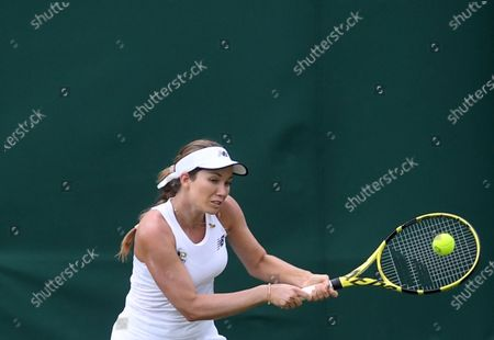 Danielle Collins of the USA in action against Polona Hercog of Slovenia during the 1st round match at the Wimbledon Championships, Wimbledo, Britain 28 June 2021.