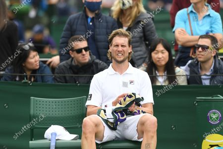 Andreas Seppi of Italy reacts during the 1st round match against Joao Sousa of Portugal at the Wimbledon Championships, Wimbledon, Britain 28 June 2021.