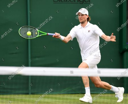 Andreas Seppi of Italy in action against Joao Sousa of Portugal during the 1st round match at the Wimbledon Championships, Wimbledon, Britain 28 June 2021.