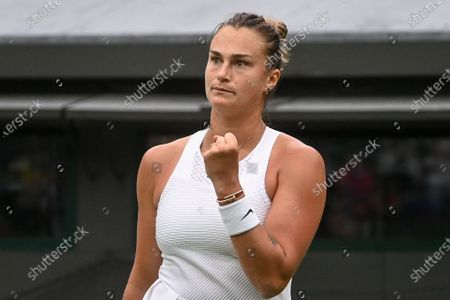 Aryna Sabalenka of Belarus in action against Monica Niculescu of Romania during their first round match at the Wimbledon Championships tennis tournament in Wimbledon, Britain, 28 June 2021.