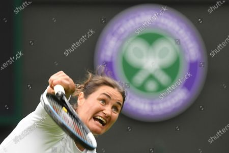 Monica Niculescu of Romania in action against Aryna Sabalenka of Belarus during their first round match at the Wimbledon Championships tennis tournament in Wimbledon, Britain, 28 June 2021.