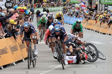 Australian rider Caleb Ewan (bottom R) of the Lotto Soudal team and Slovakian rider Peter Sagan (partially hidden) of the Bora-Hansgrohe team crash shortly before the finish line of the 3rd stage of the Tour de France 2021 over 182.9 km from Lorient to Pontivy, France, 28 June 2021.