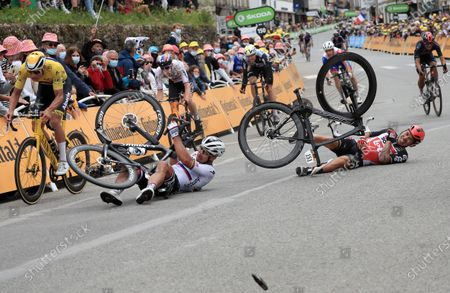 Australian rider Caleb Ewan (bottom R) of the Lotto Soudal team and Slovakian rider Peter Sagan (bottom L) of the Bora-Hansgrohe team crash shortly before the finish line of the 3rd stage of the Tour de France 2021 over 182.9 km from Lorient to Pontivy, France, 28 June 2021.