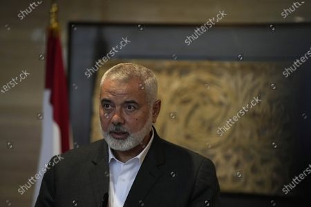 Ismail Haniyeh, the leader of the Palestinian militant group Hamas, speaks to journalists after his meeting with Lebanese Parliament Speaker Nabih Berri, in Beirut, Lebanon