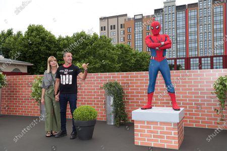 Tina Grigoriou and Nikos Aliagas with Spiderman