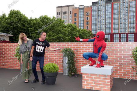 Stock Picture of Tina Grigoriou and Nikos Aliagas with Spiderman
