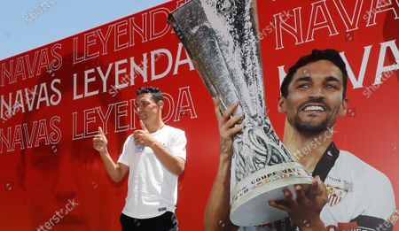 Sevilla's captain, Jesus Navas, poses for photographers at Ramon Sanchez Pizjuan Stadium, in Seville, southern Spain, 28 June 2021. Navas and Sevilla FC have agreed to a three-year extension of his contract until 2024.