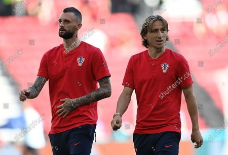 Marcelo Brozovic (L) of Croatia and Luka Modric of Croatia before the UEFA EURO 2020 round of 16 soccer match between Croatia and Spain in Copenhagen, Denmark, 28 June 2021.