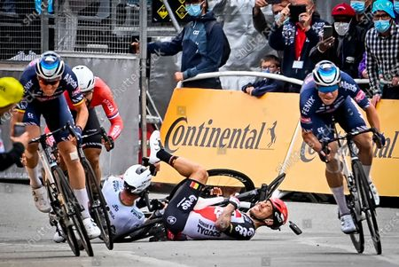 Belgian Tim Merlier of Alpecin-Fenix, French Nacer Bouhanni of Team Arkea Samsic, Belgian Jasper Philipsen of Alpecin-Fenix sprint to the finish, as Slovakian Peter Sagan of Bora-Hansgrohe and Australian Caleb Ewan of Lotto Soudal crash at the third stage of the 108th edition of the Tour de France cycling race, 182,9km from Lorient to Pontivy, France, Monday 28 June 2021. This year's Tour de France takes place from 26 June to 18 July 2021.