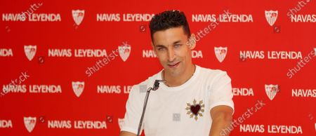 Sevilla's captain, Jesus Navas, offers a press conference at Ramon Sanchez Pizjuan Stadium, in Seville, southern Spain, 28 June 2021. Navas and Sevilla FC have agreed to a three-year extension, until 2024.