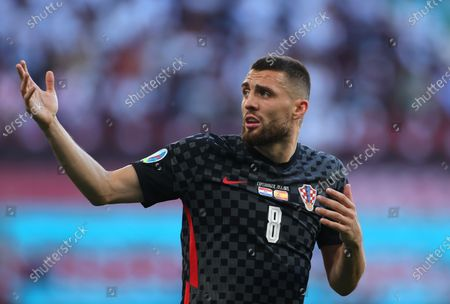 Mateo Kovacic of Croatia reacts during the UEFA EURO 2020 round of 16 soccer match between Croatia and Spain in Copenhagen, Denmark, 28 June 2021.