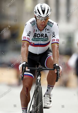 Slovakian rider Peter Sagan of the Bora-Hansgrohe team crosses the finish line of the 3rd stage of the Tour de France 2021 over 182.9 km from Lorient to Pontivy, France, 28 June 2021.
