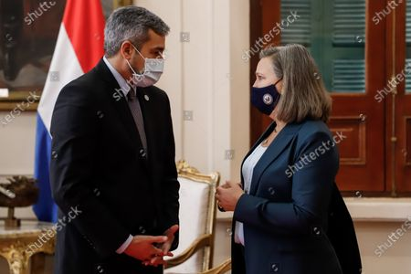 US Undersecretary of State, Victoria Nuland(R), meets with the president of Paraguay, Mario Abdo Benitez (L), at the Government Palace in Asuncion, Paraguay, 28 June 2021.  Nuland arrived at the Government Palace with a large delegation, including Acting Under Secretary of State for the US Office of Western Hemisphere Affairs, Julie Chung, and Deputy Under Secretary of Defense for the Western Hemisphere, Daniel Erikson. Nuland plans to hold a private meeting with Foreign Minister Euclides Acevedo late and then proceed to a bilateral dialogue, after which a press conference will be held.