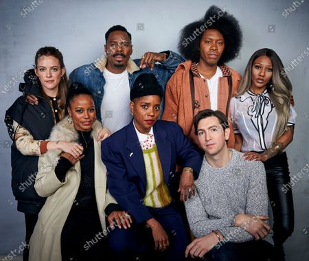 """Riley Keough, back row from left, Colman Domingo, Jeremy O. Harris, A'Ziah King, and fromt row from left, Taylour Paige, writer/director Janicza Bravo, and Nicholas Braun pose for a portrait to promote their film """"Zola"""" during the Sundance Film Festival, in Park City, Utah"""