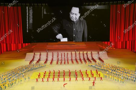 Late Chinese leader Mao Zedong is displayed on screen during a gala show ahead of the 100th anniversary of the founding of the Chinese Communist Party in Beijing on . In the build-up to the July 1 anniversary, Chinese President Xi Jinping and the party have exhorted its members and the nation to remember the early days of struggle in the inland hills of Yan'an, where Mao emerged as party leader in the 1930s