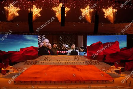 Late Chinese leader Mao Zedong is seen on screen during a gala show ahead of the 100th anniversary of the founding of the Chinese Communist Party in Beijing on . China is marking the centenary of its ruling Communist Party this week by heralding what it says is its growing influence abroad, along with success in battling corruption at home