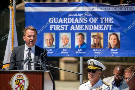 Annapolis Mayor Gavin Buckley delivers remarks during the dedication ceremony for the Guardians of the First Amendment Memorial in Annapolis, Maryland, USA, on 28 June 2021. On 28 June 2018 five journalists and staff of the Capitol Gazette, Gerald Fischman, Rob Hiaasen, John MCNamara, Rebecca Smith and Wendi Winters, were killed during a mass shooting incident in their office.