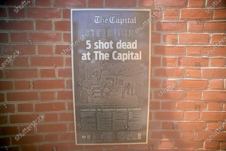 A plaque of the The Capitol front page is featured at the Guardians of the First Amendment Memorial in Annapolis, Maryland, USA, on 28 June 2021. On 28 June 2018 five journalists and staff of the Capitol Gazette, Gerald Fischman, Rob Hiaasen, John MCNamara, Rebecca Smith and Wendi Winters, were killed during a mass shooting incident in their office.