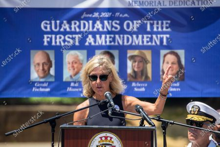 Maria Hiaassen delivers remarks during the dedication ceremony for the Guardians of the First Amendment Memorial in Annapolis, Maryland, USA, 28 June 2021. On 28 June 2018 five journalists and staff of the Capitol Gazette, Gerald Fischman, Rob Hiaasen, John MCNamara, Rebecca Smith and Wendi Winters, were killed during a mass shooting incident in their office.
