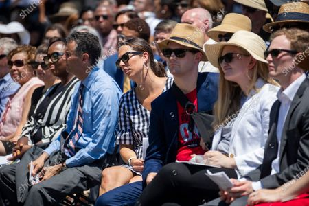 People look on during the dedication ceremony for the Guardians of the First Amendment Memorial in Annapolis, Maryland, USA, 28 June 2021. On 28 June 2018 five journalists and staff of the Capitol Gazette, Gerald Fischman, Rob Hiaasen, John MCNamara, Rebecca Smith and Wendi Winters, were killed during a mass shooting incident in their office.
