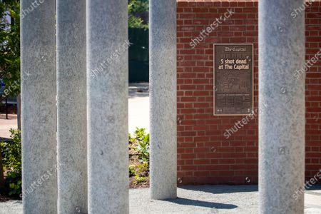 The Guardians of the First Amendment Memorial in Annapolis, Maryland, USA, on 28 June 2021. On 28 June 2018 five journalists and staff of the Capitol Gazette, Gerald Fischman, Rob Hiaasen, John McNamara, Rebecca Smith and Wendi Winters, were killed during a mass shooting incident in their office.