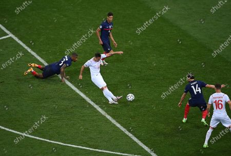 Mario Gavranovic (C) of Switzerland scores his team's third goal during the UEFA EURO 2020 round of 16 soccer match between France and Switzerland in Bucharest, Romania, 28 June 2021.