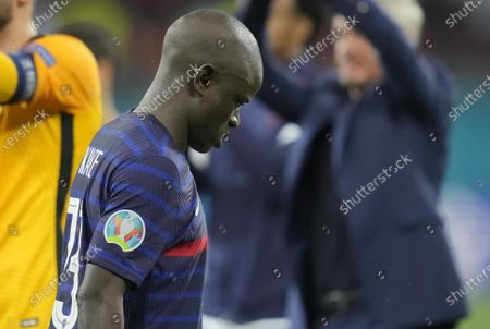 France's N'Golo Kante reacts after losing the UEFA EURO 2020 round of 16 soccer match between France and Switzerland in Bucharest, Romania, 28 June 2021.