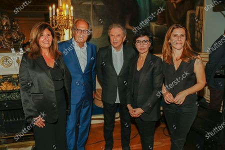 """Francoise Smadja, Nathalie Levy, Michel Drucker and the Mayor of the 7th, Rachida Dati during the evening given at the Mayor of the 7th arrondissement of Paris for the fifth edition of the festival """"Des Livres Des Stars"""" in Paris on June 26, 2021."""