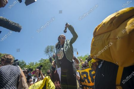 Rep. Alexandria Ocasio-Cortez, D-NY, spoke during a rally held by the Sunrise Movement, an organization that advocates primarily for political action on climate change, gathered in Washington, DC., on Monday, June 28, 2021. The march, which drew members from across the country, began in John Marshall Memorial Park and finished in Lafayette Square outside the White House, where members of congress, including Ocasio-Cortez, spoke to the group.