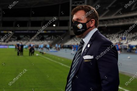 President of Conmebol Alejandro Dominguez looks at the pitch prior to the Copa America Group A soccer match between Uruguay and Paraguay at the Nilton Santos Olympic Stadium in Rio de Janeiro, Brazil, 28 June 2021.