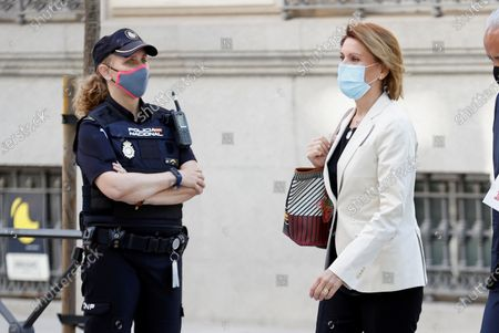 Former Popular Party general secretary Maria Dolores de Cospedal (R) arrives at the National Court in Madrid, Spain, 29 June 2021, to testify on the 'Kitchen' case, an allegedly illegal spying operation against the former Popular Party treasurer Luis Barcenas.