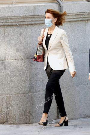 Stock Image of Former Popular Party general secretary Maria Dolores de Cospedal arrives at the National Court in Madrid, Spain, 29 June 2021, to testify on the 'Kitchen' case, an allegedly illegal spying operation against the former Popular Party treasurer Luis Barcenas.