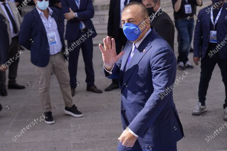 Turkey' 'foreign Minister Mevlut Cavusoglu arrives in Matera, Italy, for a G20 foreign affairs ministers' meeting