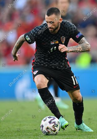 Croatia's Marcelo Brozovic controls the ball during the Euro 2020 soccer championship round of 16 match between Croatia and Spain at the Parken Stadium in Copenhagen