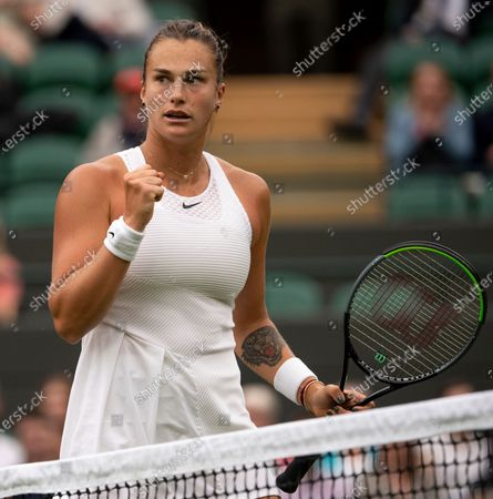 Stock Photo of Aryna Sabalenka (BLR) celebrates after winning a point against Monica Niculescu (ROU) on No.1 Court at The Championships 2021