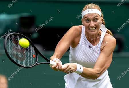 Petra Kvitova (CZE) playing against Sloane Stephens (USA) in the first round of the Ladies' Singles on Centre Court at The Championships 2021