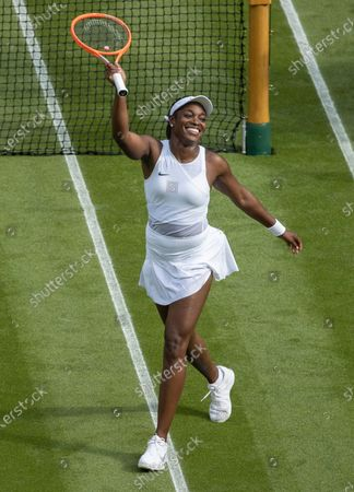 Stock Image of Sloane Stephens (USA) celebrates after defeating Petra Kvitova (CZE) in the first round of the Ladies' Singles on Centre Court at The Championships 2021