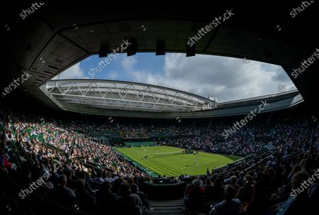 General view of Centre Court during the match between Sloane Stephens (USA) and Petra Kvitova (CZE) in the first round of the Ladies' Singles on Centre Court at The Championships 2021