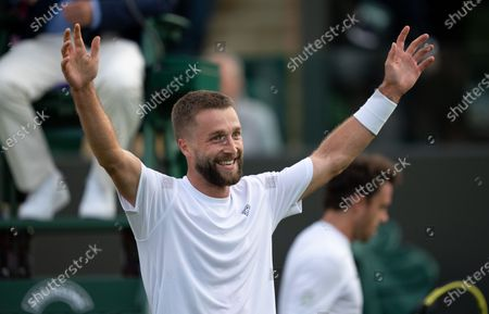 Stock Image of Liam Broady (GBR) celebrates after defeating Marco Cecchinato (ITA) on No.3 Court at The Championships 2021