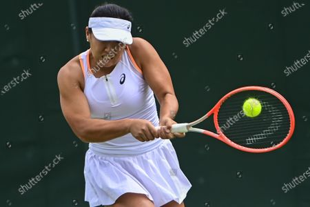 Claire Liu of the USA in action against Misaki Doi of Japan during their 1st round match at the Wimbledon Championships, Wimbledon, Britain 29 June 2021.