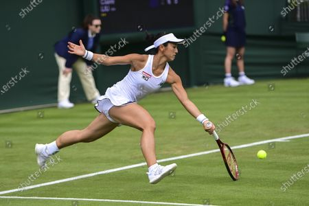Misaki Doi of Japan in action against Claire Liu of the USA during their 1st round match at the Wimbledon Championships, Wimbledon, Britain, 29 June 2021.