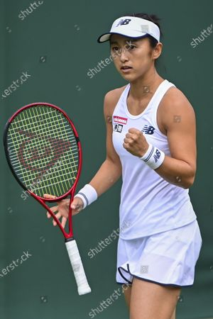 Misaki Doi of Japan reacts during her 1st round match against Claire Liu of the USA at the Wimbledon Championships, Wimbledon, Britain, 29 June 2021.