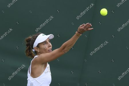 Mihaela Buzarnescu of Romania in action against Venus Williams of the USA during their 1st round match at the Wimbledon Championships, Wimbledon, Britain 29 June 2021.