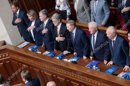 Former Presidents of Ukraine Petro Poroshenko (3rd L), Viktor Yushchenko (4th L), Leonid Kuchma (C) and Verkhovna Rada Speaker of the 2nd and 5th convocations, co-head of the Constitutional Commission Oleksandr Moroz (2nd R) are pictured during the solemn meeting of the Ukrainian parliament dedicated to the 25th anniversary of the adoption of the Constitution of Ukraine, Kyiv, capital of Ukraine.